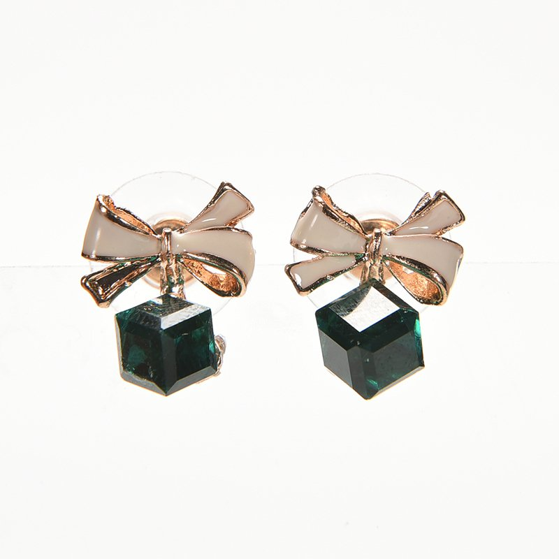 Velishy Women Vogue Bowknot Cube Crystal Earings Shinny Square Crystal Stud Earrings Green - Intl