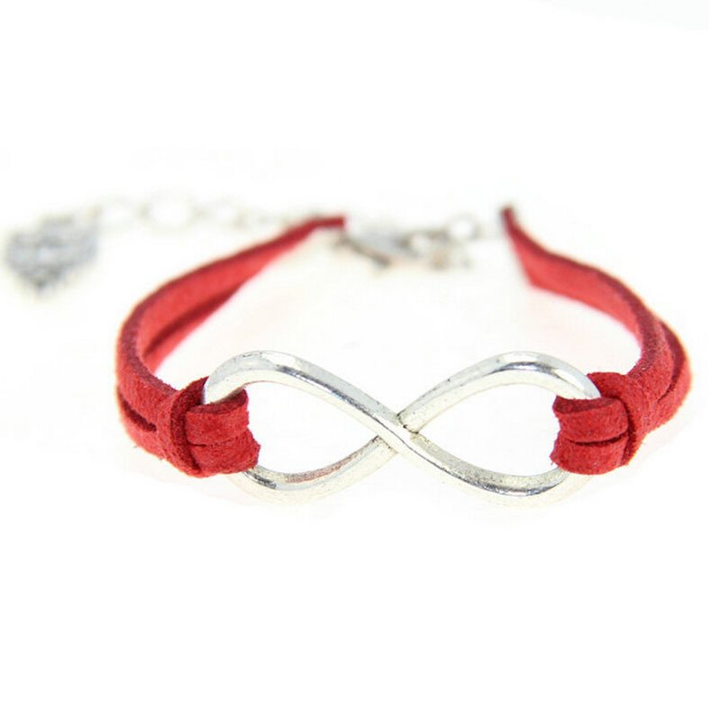 Velishy Women Vogue Bracelet Silver Lucky 8 Pendant Bangle Charm Leather Rope Bracelet Red - Intl