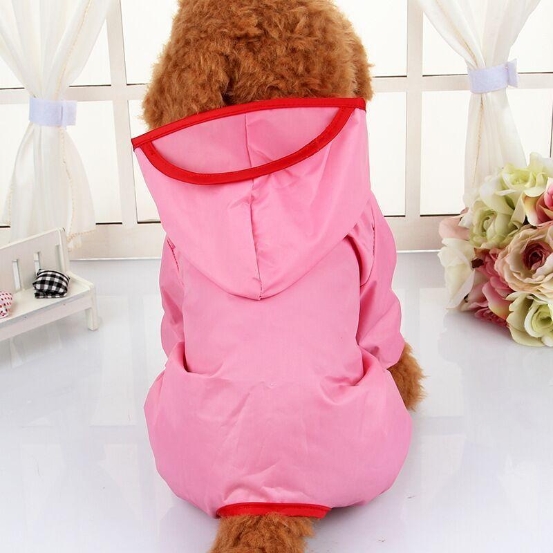 Victory New Pet Raincoat Dog Raincoat Dog Clothes Puppy Poncho Hooded Pet Raincoat Clothes Pet Shirts(Pink-XL) - intl