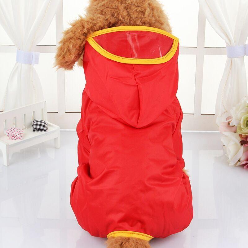 Victory New Pet Raincoat Dog Raincoat Dog Clothes Puppy Poncho Hooded Pet Raincoat Clothes Pet Shirts(Red-S) - intl