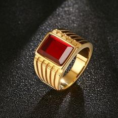Vintage Big Cincin Batu Merah untuk Pria Cool Gold-Warna 316L Stainless Steel Perhiasan, Ukuran AS 7-12-Intl