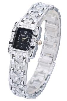 eShop Checker Viser Rectangle Quartz Wrist Watch Women Luxury Classic Bangle Hollow Out Watches Harga Penawaran