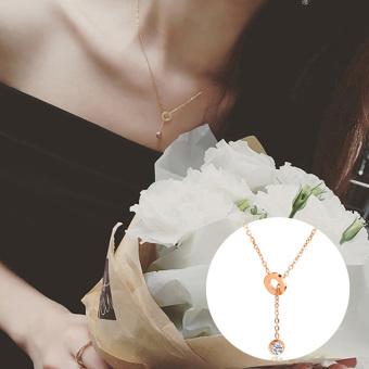 Wanita 18K Jepang dan Korea Selatan naik berlapis emas perempuan rantai klavikula kalung cincin