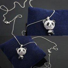 Wanita Klasik Berlian Imitasi Bergerak Kepala Panda Sweater On Pasangan Kalung Rantai