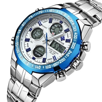 Waterproof Sports Watches Men Top Brand Luxury LED Digital Clock Men's Quartz Army Military Stainless Steel Wrist Watch Male - intl