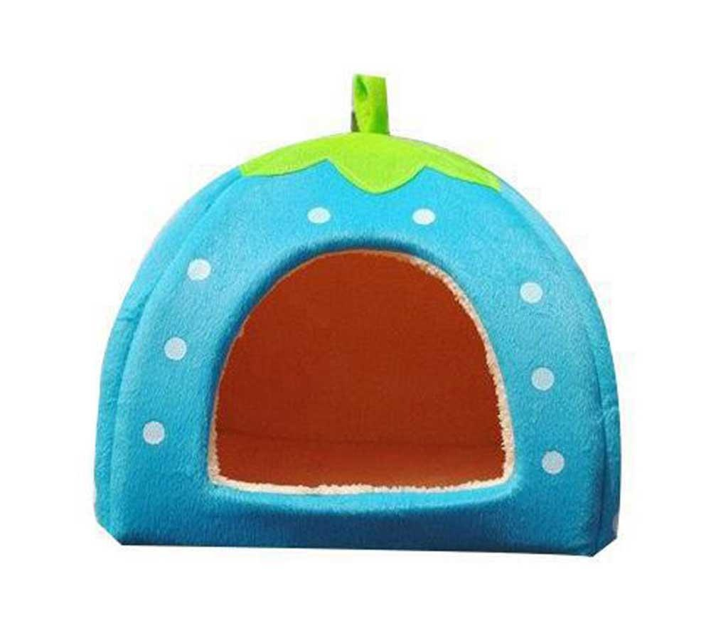 weaxig Blue Strawberry Pet House Bed With Warm Plush Pad (L) - intl