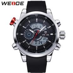 WEIDE Men Quartz Military Watch Analog Digital 3ATM Waterproof Rubber Strap Men Sports Watches WH3401 Silver Black - intl