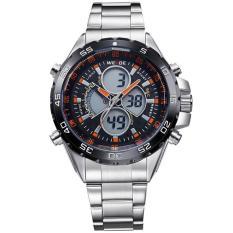 WEIDE Men's Swiss Waterproof Watches Multi - Functional Military Table Outdoor Climbing Sports Men 's Stainless Steel Belt Watch WH1103 - Orange - intl