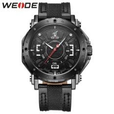 WEIDE Waterproof Calendar Casual Leather Strap Watches Men's Quartz Watches Black - intl