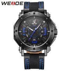 WEIDE Waterproof Calendar Casual Leather Strap Watches Men's Quartz Watches Blue - intl