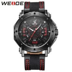 WEIDE Waterproof Calendar Casual Leather Strap Watches Men's Quartz Watches Red - intl