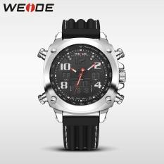 WEIDE WH5208 Man Wristwatch Leather Sports Watches Men Military Clock Outdoor Quartz Watch Black - intl
