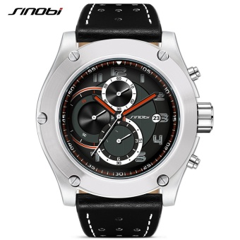 Wholesaler SINOBI 9648 Chronograph Mens Sports Stock Wrist Watches Date Waterproof Geneva Quartz Clock Military Rocking - intl