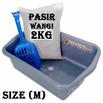 WiyadiStore - Paket Litter Box [Size : M], Litter Scoop, dan Pasir Wangi [Repack 2kg]