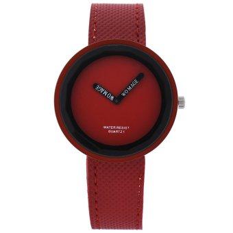 Womage Bisnis Mode Wanita Tenun Kulit Campuran Kuarsa Perhiasan Merah 025 (Merah)