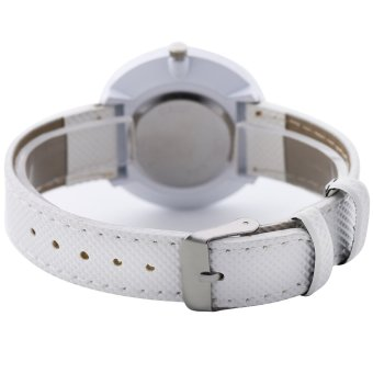 Womage Fashion Business Women Weaving Leather Alloy Quartz Watch White 025(White .