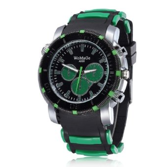 WoMaGe Woman Fashion Alloy Case Silicone Band Outdoor Running Sport Quartz Wrist Lady Watches green