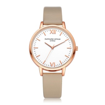 Women Fashion Retro Design Leather Band Analog Alloy Quartz Wrist Watch Rose Gold & Beige - intl