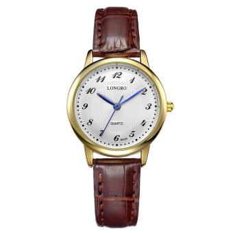 Women s Fashion Simple Striped Watch Strap Waterproof Gold Shell White  Brown Belt Leather Strap Alloy Dial 0f98651226