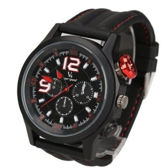 WSJ Men Sports Silicone StrapDial Wrist Watch Black Case Red Button - intl
