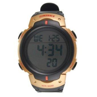 WSJ SKMEI Waterproof LED Light Digital Date Alarm LCD Wrist Watch Men Women Sports - intl