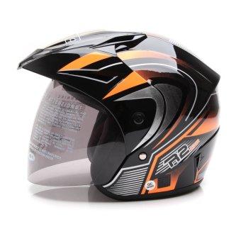 WTO Helmet Z1R PET R2 Rider Hitam Oren Promo Gratis SarungTangan .