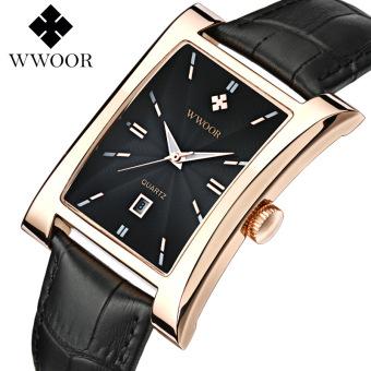 WWOOR 8017 Top Brand Men Watches Square Quartz Watch Calendar Luminous Functions Waterproof Ultra-thin Man Business Leather Wrist Watches, Gold Black - intl
