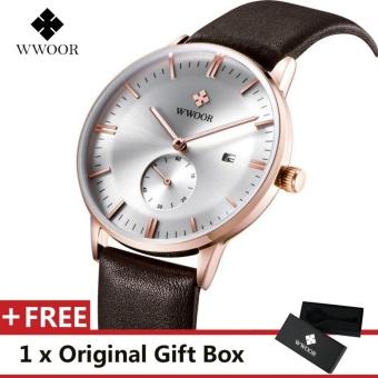 WWOOR Top Luxury Brand Watch Famous Fashion Sports Cool Men Quartz Watches Calendar Waterproof Leather Wristwatch For Male Brown White - intl