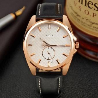 YAZOLE 356 Fashion Leather Business Luminous Quartz Movement Men White Watch - intl