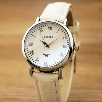 YAZOLE Classical Women Leather Band Fashion Joker Bussiness Quartz Wrist Watch YZL278-B-White