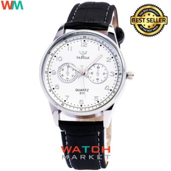 Yazole Jam Tangan Pria 311 Quartz Kulit Analog Fashion Men Leather Wrist Watch - Hitam Putih