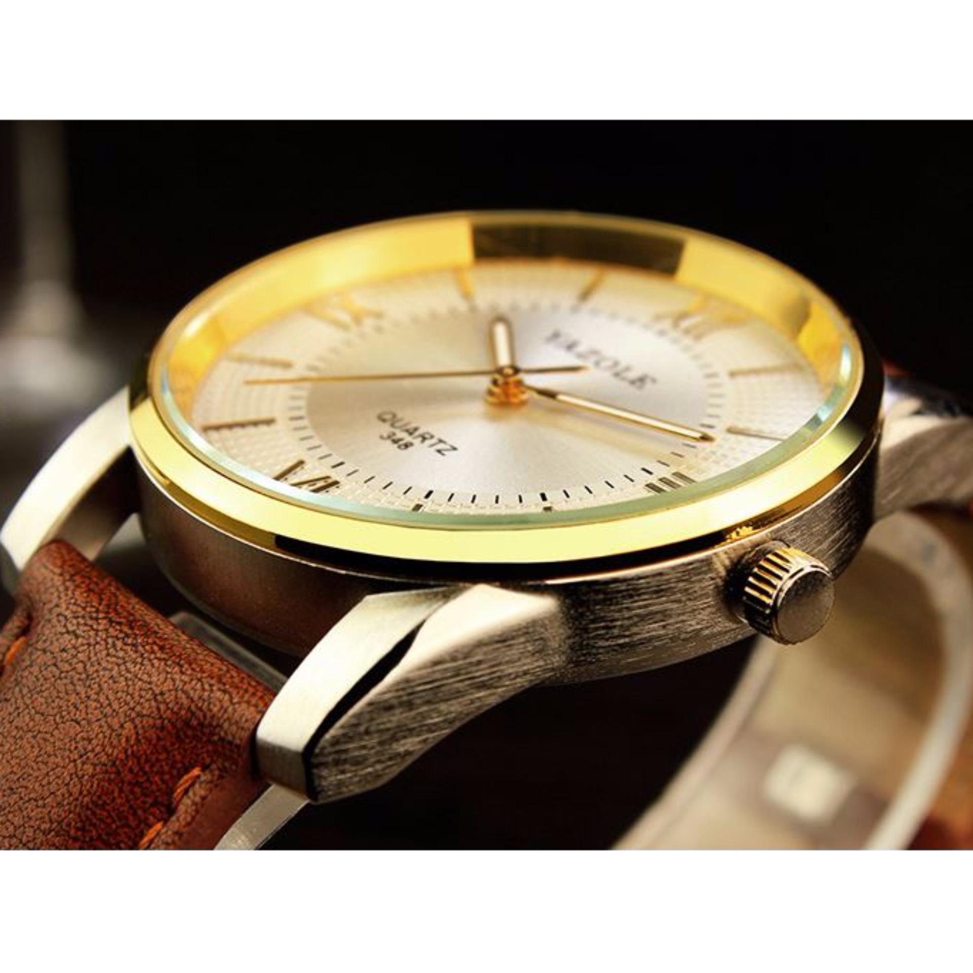 Yazole Jam Tangan Pria Sport Fashion Quartz Wristwatches 372 Black 296 Original Business Watches Dial 348 White Brown