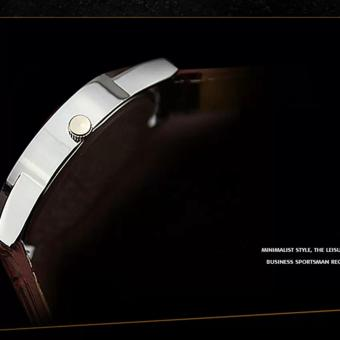 YAZOLE Jam Tangan Pria Vintage Leather Band Fashion Stainless Steel Sport Bussiness Quartz Wrist 311 - White Brown - 4