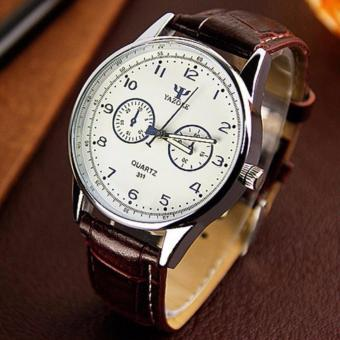 YAZOLE Jam Tangan Pria Vintage Leather Band Fashion Stainless Steel Sport Bussiness Quartz Wrist 311 - White Brown
