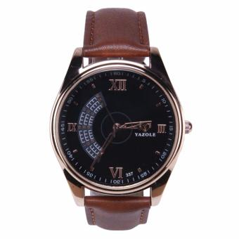 YAZOLE Jam Tangan Pria Vintage Leather Band Fashion Stainless Steel Sport Military Quartz Wrist 337 - Black Brown
