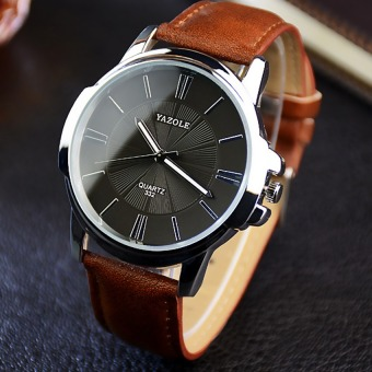 YAZOLE Unisex Sport Stainless Steel Quartz Leather Wrist Watch (Black+Brown)