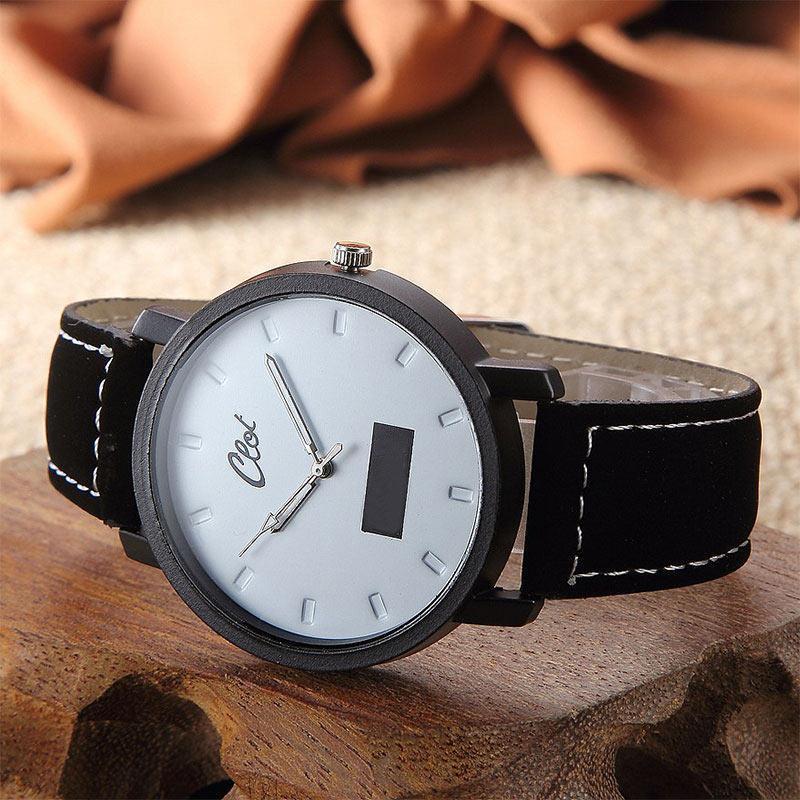 Flash Sale YBC Dial jam tangan Unisex kepribadian sederhana kulit PU arloji kasual - Internasional