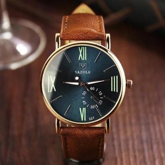 YBC Men Business Wrist Quartz Watch Leather Wrist Band Waterproof Night Light Watches - intl