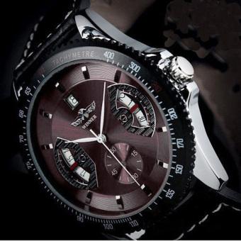 YBC olahraga pria kulit jam tangan Analog mekanik otomatis kopi - Internasional