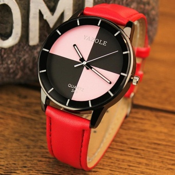 YBC Simple Fashion Women Quartz Watch PU Leather Band Wristwatch - intl