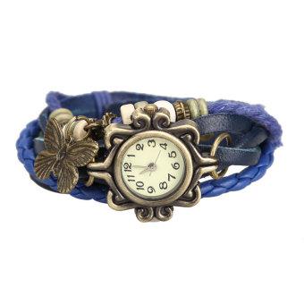 YBC Women Retro Bracelet Quartz Wrist Watch With Twisted Braid Strap Blue