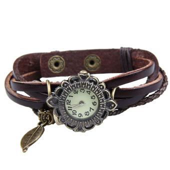 Amart Women Vintage Braided Rope Faux Leather Wrap Quartz Bracelet Wrist Watch Dark Brown - intl