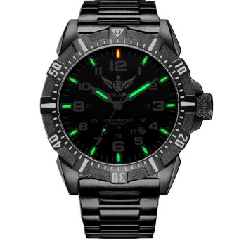 YELANG V1003 mens tritium gas green luminous waterproof steel strap sports military diving watch