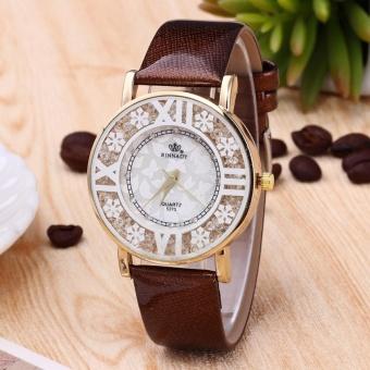 Yika Luxury Fashion Casual leather Rhinestone Watch Women Dress Wristwatch Steel Quartz Hollow Watches Men -