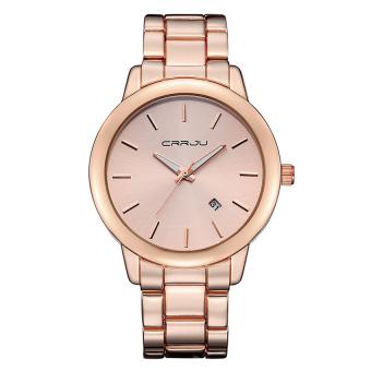 Yika Men Stainless Steel Date Quartz Analog Sport Wrist Watch (Rose Gold)