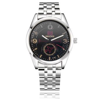 Yika Men Stainless Steel Waterproof Sport Analog Quartz Wrist Watch (Black)