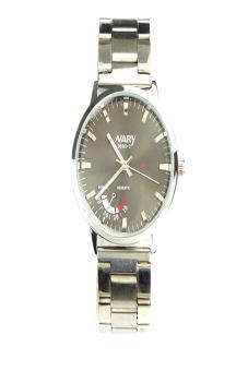 Yika Men's Fashion Casual Stainless Steel Band Quartz Analog Wrist Watch (Black)