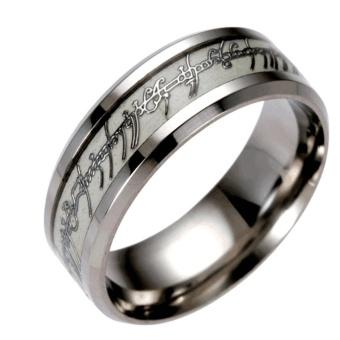 Yika The Lord of the Rings Titanium Steel Luminous Ring Men Women Knuckle Rings #6 - intl