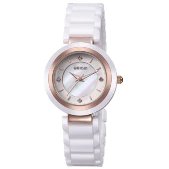 3b1a8ba36586 YJJZB WEIQIN Ladies Watches Top Brand Luxury White Pink Ceramic Watch  Fashion Women Dresses Watches Ladies