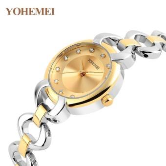 YOHEMEI 0191 Women Quartz Watch Fashion Luxury Brand Women Watch Waterproof Silver Color Alloy Strap Quartz Wrist Diomon Watches- Gold - intl